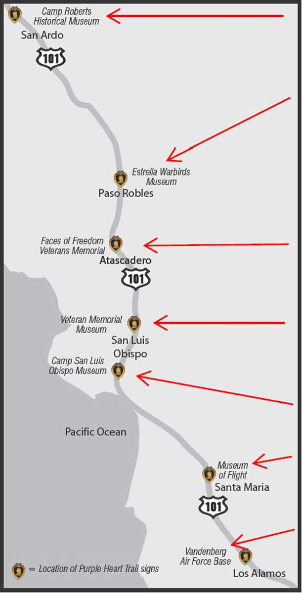 Highway 41 California Map.Purple Heart Trail Ca Central Coast Map Page